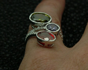Ladies,new,design,925,sterling,silver,ring,hand,set,stones,multi,color,and,white,round ,cut,cz ,rhodium,plated,plus,  jewelry,gift ,box.,
