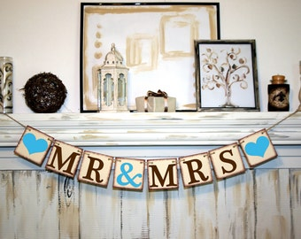 Wedding Banner Mr and Mrs Banner  Rustic Banner Mr and Mrs Banner  Bridal Shower Banner  - Wedding Banner - Engagement Party Decoration