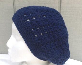 Navy blue slouchy hat - Womens crochet hat - Teens crochet slouchy hat - Womens hats