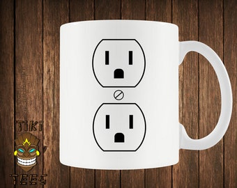 Funny Electrical Outlet Coffee Mug Geek Nerd Electrician Mugs Funny Gift For Him Her Old School Humor Perfect Gift