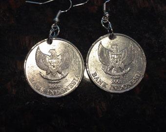 Indonesia 500 Rupiah Coin Earrings