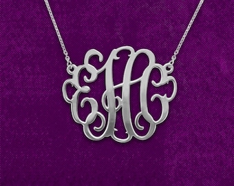 "monogrammed necklace, 1.25"" silver monogram necklace, sterling silver monogram necklace, personalized jewelry, 25 Sterling silver"