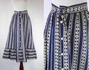 1970s Navy Striped Daisy Midi Skirt -- Sz Xs/Sm