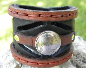 Genuine Bufflo Bison Leather Cuff 2 ich wide Indian Style Handmade Bracelet  Nice gift for  fan of the BUFFALO BILLS Indian Coin