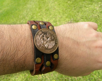 Genuine Buffalo Bison leather handmade cuff bracelet wristband Real Larg Aztec Eagle coin