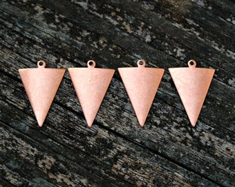 4 pcs Rose Gold Geometric Triangle Pendants, Made in the USA