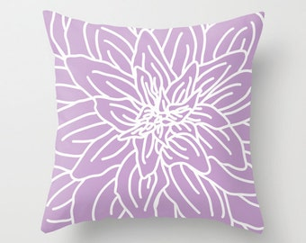Modern Abstract Spring Flower Pillow Cover - Lavender Orchid Purple Violet - Pastel Home Decor - includes insert