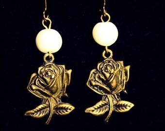 ROSE Elegant Antique Bronze Earrings with Ceramic White Beads