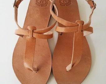 Brown Leather Sandal,Greek Sandal,Summer Flats,Thong Sandal