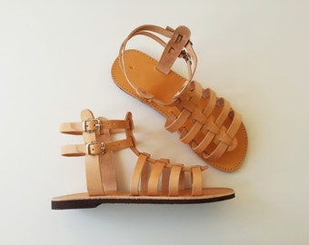 Natural Leather Gladiator Sandals - Women Leather Gladiator Sandals
