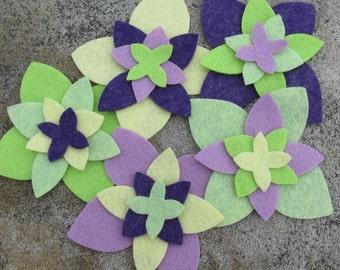20 Wool Blend Felt Die Cut Applique Flowers - Daffodil Garden