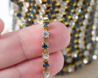 4mm Rhinestone Chain Montana Blue Crystal Clear Brass By the Foot