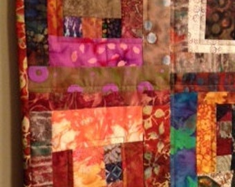 Handmade Quilted Wall Hanging Made From Earth Tone Batiks
