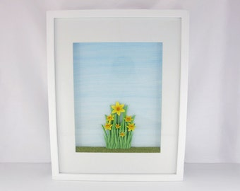 Original and Unique 3D Paper Sculpture 'New Beginnings' Large Shadow Box Frame