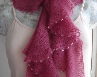 Knitting Pattern for -Beaded Frill Scarf, a glamorous waterfall scarf knitted in fine mohair witha simple crochet beaded edging