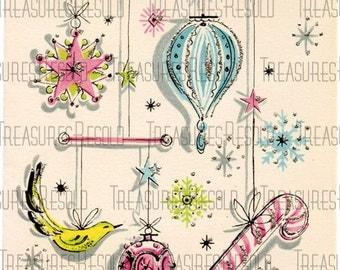 Retro Bulb Ornaments Christmas Card #46 Digital Download