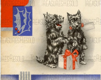 Retro Black Scottie Dogs Christmas Card #320 Digital Download