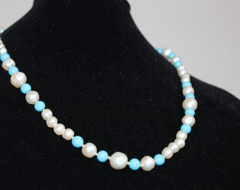 "Marvella Faux Pearl and Turquoise Vintage Necklace 24"" Long"