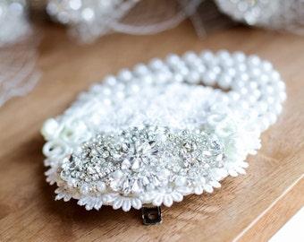 Ivory Crystal Stunning Ivory Rhinestone Pearl Birdcage Headpiece Hairpiece