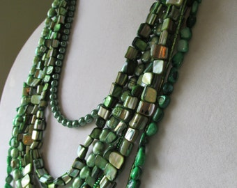 Multistrand Green Beaded Statement Necklace, Green Shell Necklace, Multi-Strand Necklace, Mother of Pearl Shell, Copper Chain