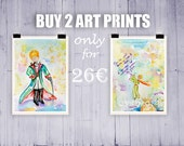 BUY 2  ART PRINTS : Le Petit Prince-The little prince for 26 euro! 13x18cm Ready to ship! Nursery home decor , Home warming gift idea