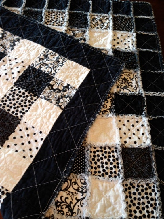 Plaid Baby Quilt: Black And White Plaid Cotton Rag Quilt Baby Quilt Handmade