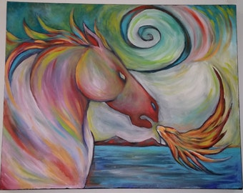 Fire Horse 30 x 24 inch painting