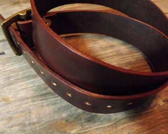 Handmade mens leather belt in dark brown with an antique brass buckle