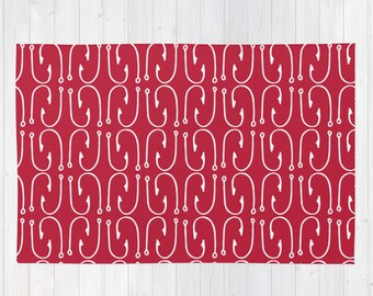 Nautical Red Area Rug, Fish Hooks Throw Rug 2x3, Modern Rug , Fishing Decor Rug 3x5, cabin decor, lake decor, red rug, man cave rug