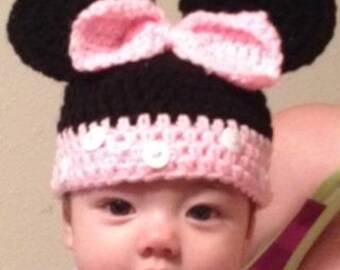 Crocheted Minnie Mouse Hat - Newborn to Adult Sizing -It Rocks!