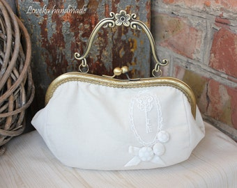 Wedding bag Clutch - Gray White Velvet bag with clasp  - Bag - Gray-White Velvet Clasp Bag - Wedding Pouch - Made to order