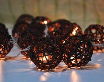 Rattan Ball String Lights Earth Tone for Party Wedding and Decorations