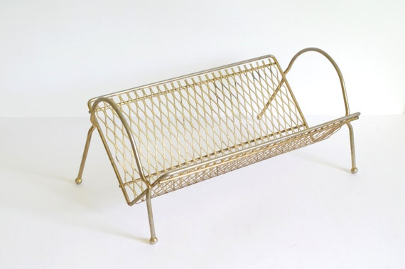 Aluminum Rack Manufacturers Mail: Vintage Metal Shelf // Vintage Book Rack // Metal Mail Rack