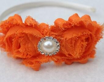 Orange headband, Orange and ivory flower girl headband, plastic headband, satin headband, toddler headband, hard headband girls