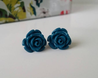 Navy blue earrings, navy blue rose earrings, navy blue studs, blue rose earrings, navy blue rose studs, montana blue, blue flower studs