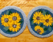 Two Hooked Rug Chair Pads, Sunflowers, Yelloe, Blue Vintage Handmade Folk Art, Primative, Needlework