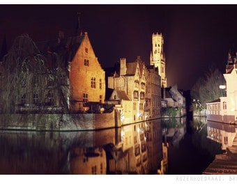 Bruges by night photograph, fine art photo print, night time, Bruges, rozenhoedkaai, city, lights, pretty, travel, belgium