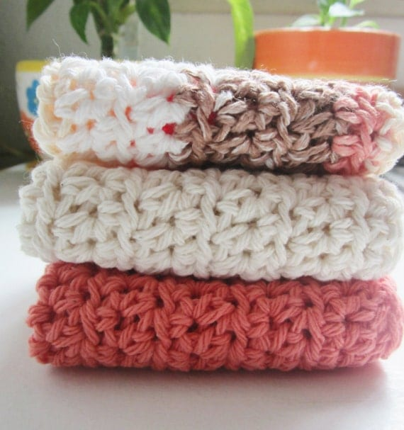 Crochet Dishcloths  Crochet WashCloths Orange Tones 100% Cotton Eco Friendly