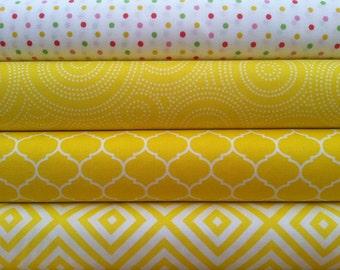 Max and Bunny - Andover-  Modern Prints- Yellows - 1/2  Yard Fabric Bundle (4 Pieces)