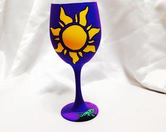 Princess inspired hand painted wine glass.