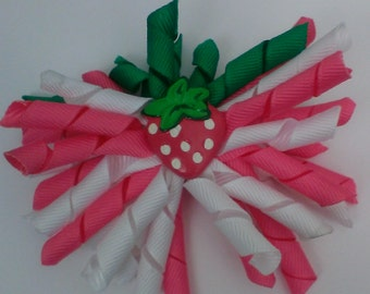 Strawberry and White  Korker Hairbow