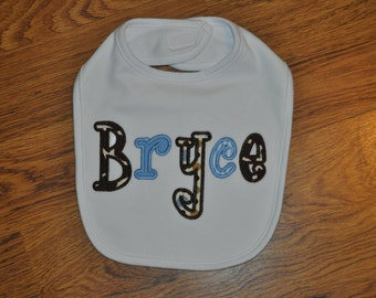 Personalized Applique Name Bib for a Baby Boy