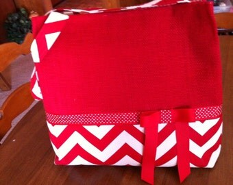 Red Burlap  and Chevron Tote or Diaper Bag