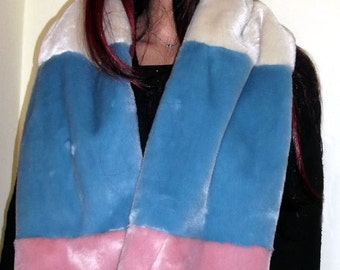 Long Pastel Multi Coloured Faux Fur Scarf in Pink, Ivory and Blue