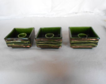 Vintage Mid Century Bennetts of California Candle Holders California Pottery