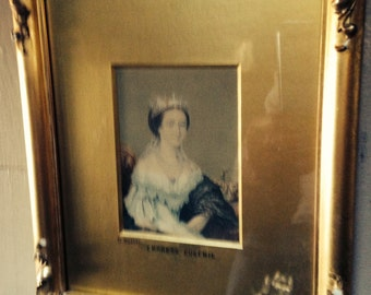 Baxter Print -  Empress Eugenie  - Gilt Frame with Gold Frame - Chromolithograph