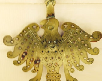 ANTIQUE Rare Brass Eagle Skimmer c.1850 Coiled Snakes and Wings