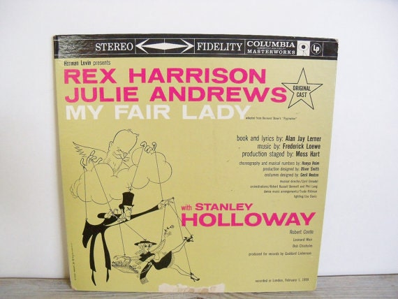 My Fair Lady Rex Harrison Julie Andrews Antique Album 1959 Columbia LP London Original Cast