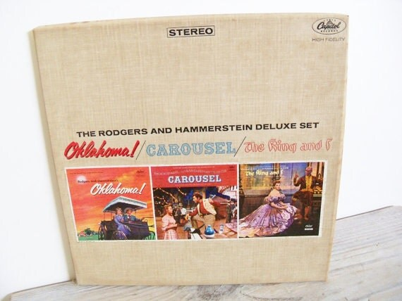 Antique Rodgers Hammerstein Vintage Record Album Oklahoma Carousel King and I Soundtrack Album 3 in 1 Set
