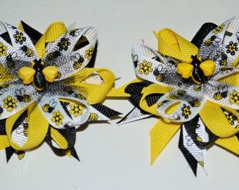 black & yellow bee bows